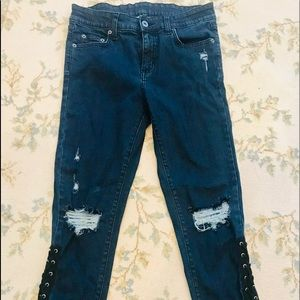 Carmar jeans w/ ripped knees and lacing